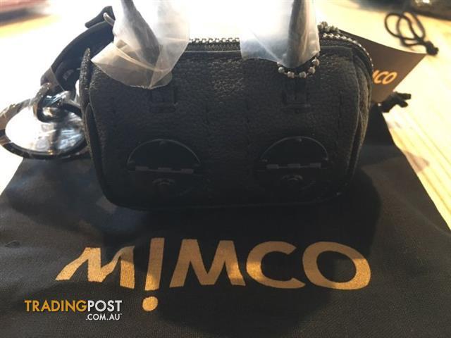 Mimco Mini Turnlock Keyring Black Matte