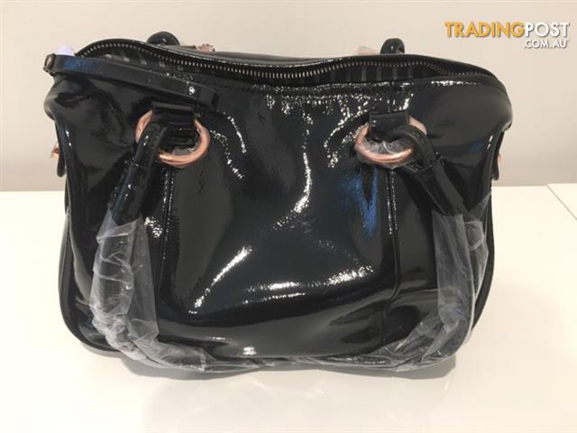 Mimco Mini Patent Black Turnlock Bag