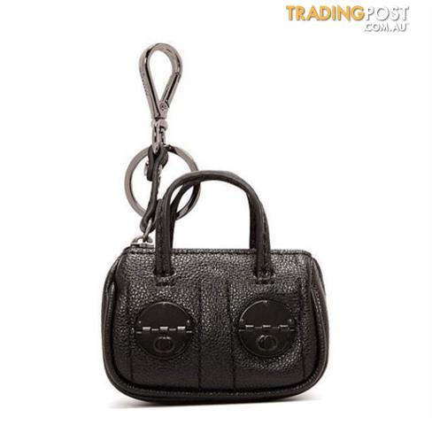 Mimco Mini Turnlock Keyring Black Matte or White BNWT