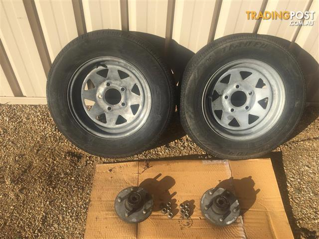 Galvanized rims, tyres and hubs Ford 5 stud pattern