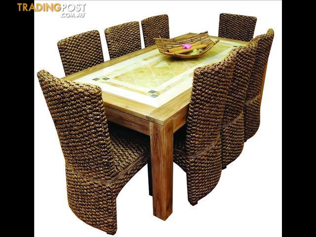 Teak Timber Sandstone Inlay Dining Table