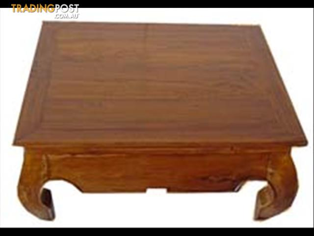 Solid mahogany wood opium coffee table curved legs solid for Low lying coffee table