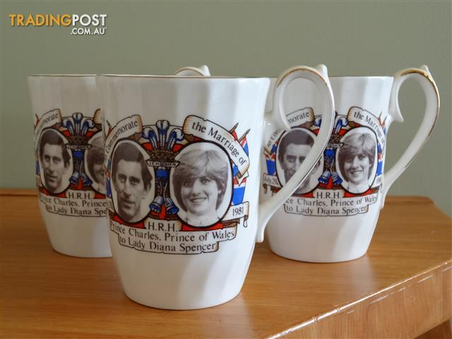 Bone China Charles and Diana Commemoration Mugs