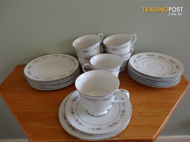 Fine China Tea Cup, Saucer and Plate Set