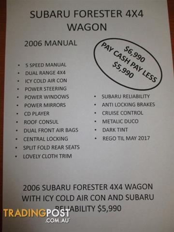 2006 SUBARU FORESTER X MY06 4D WAGON