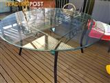 Large Glass Top Table with metal baseframe