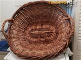 Antique cane laundry basket