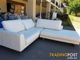 3str White Leather Chaise Lounge