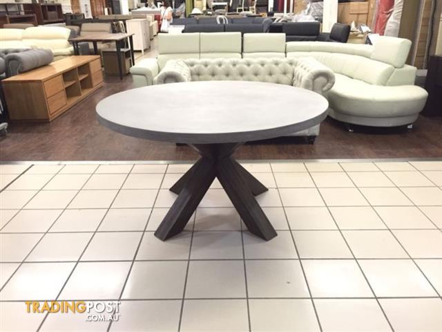 ROUND CONCRETE TOP DINING TABLE W ACACIA TIMBER LEGS