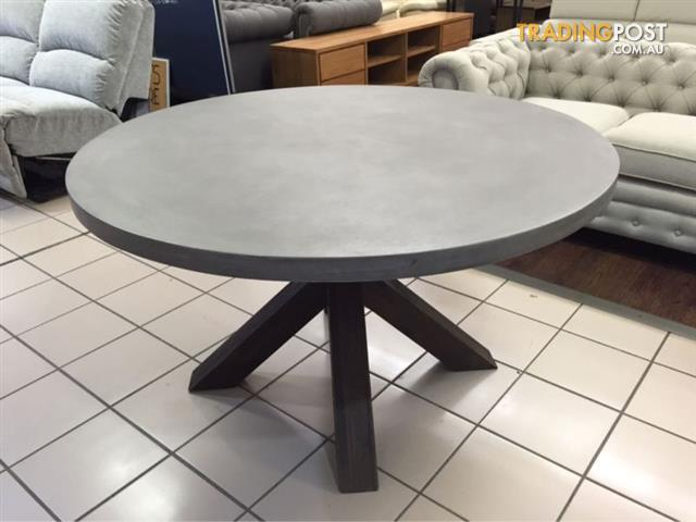 Round Concrete Top Dining Table W, Concrete Round Dining Table For 6