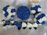 Wedding bouquet set royal blue and white brand new