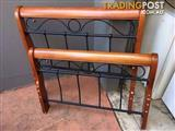 Solid wood wrought iron Single Bedframe