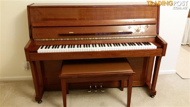 Beale Upright Piano, high polish, cherry colour, with stool