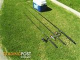3 NIBBLE TIP FISHING RODS 3 REELS NEW LINE