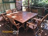 Timber outdoor table and chairs