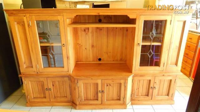 Wooden Tv Cabinet Entertainment Unit Glass Doors Dvd Racks Shelf For