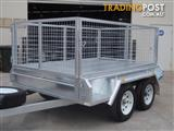 8x5 Tandem Galvanised With 300mm Checker Plate Sides & 800mm Mesh Cage