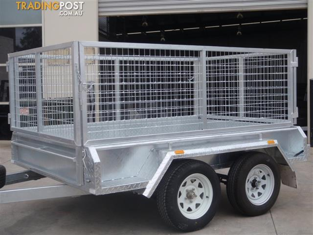 8x5 Tandem Galvanised With 300mm Checker Plate Sides & 800mm Mesh ...