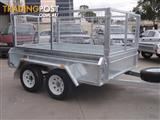 8x5 Tandem Galvanised With Deep 410mm Checker Plate Sides & 800mm Mesh Cage