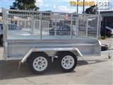 9x5 Tandem Trailer Galvanised With Deep 410mm Checker Plate Sides & 800mm High Cage