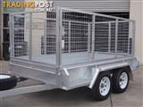 9x5 Tandem Galvanised With 300mm Checker Plate Sides & 1000mm Mesh Cage