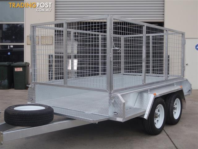 9x5 Tandem Galvanised With 300mm Checker Plate Sides & 1000mm Mesh ...