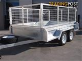 10x6 Tandem Trailer Heavy Duty Galvanised With Deep 410mm Checker Plate Sides & 800mm Mesh Cage