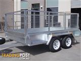 9x6 Tandem Trailer Galvanised With 300mm Checker Plate Sides & 800mm High Cage