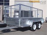 10x5 Tandem Trailer Heavy Duty Galvanised With Deep 410mm Checker Plate Sides & 800mm Mesh Cage