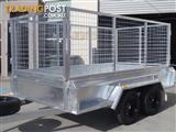 10x5 Tandem Trailer Heavy Duty Galvanised With Deep 410mm Checker Plate Sides & 1000mm Mesh Cage