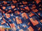 American print flag and stars satin material fabric