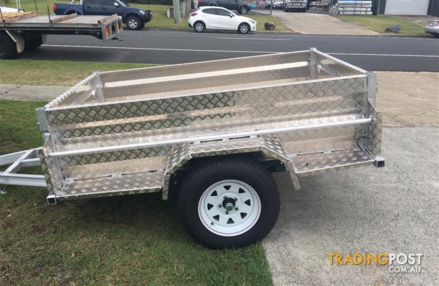 Australian Aluminium 7x4 Box Trailers Full Checker Plate