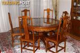 Complete dining suite - table. chairs, sideboard and cabinet