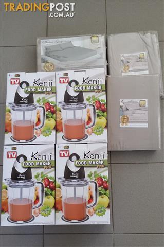 Mixed goods. 4 brand new x kenji food maker + 3 sets of 1000+ count sheet sets