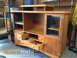 Purpose built distressed look solid timber entertainment unit