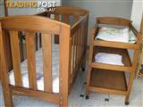 Solid brown Baby cot, Mattress, Change Table set