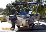 QUINTREX ALUMINIUM 3.85 EXPLORER with YAMAHA 25HP outboard motor and  DUNBIER TRAILER EXC COND