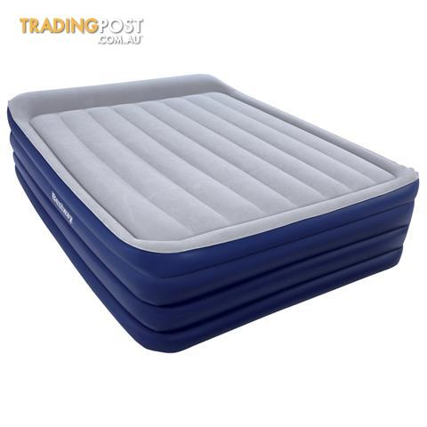 high rise queen inflatable air bed built in pump blow up mattress camping blue for sale in. Black Bedroom Furniture Sets. Home Design Ideas