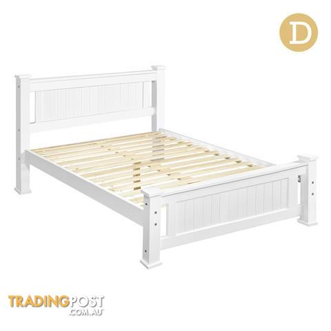 Wooden Bed Frame Pine Wood Double White for sale in Sydney NSW ...