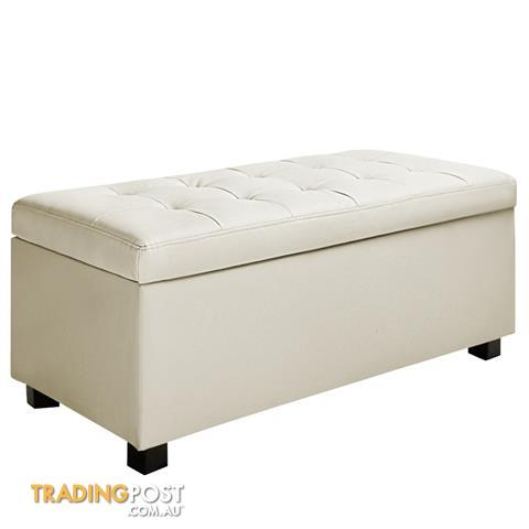 Superbe Ottoman Storage Blanket Box Foot Stool Toy Chest Bed PU Leather Large Cream