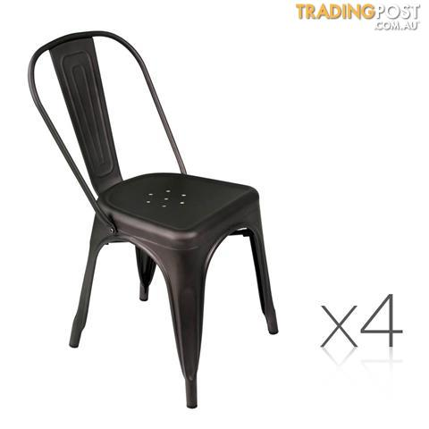 set of 4 replica tolix dining chair steel gunmetal for sale in