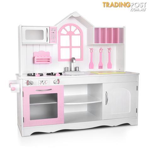 Kids Toys Wooden Kitchen Playset Pretend Food Cooking Set Children