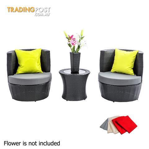 2 Seater Outdoor Furniture Set 4pcs Stackable Wicker Rattan Garden Patio BKGY