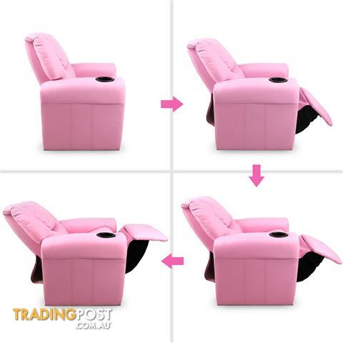 Premium Children Pu Leather Sofa Kids Recliner Lounge Padded Arm Chair Pink