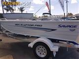 SAVAGE RAPTOR PRO 405 30HP 4 FOUR STROKE MERCURY AND TRAILER