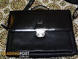 dunhill Leather work business leather bag locking