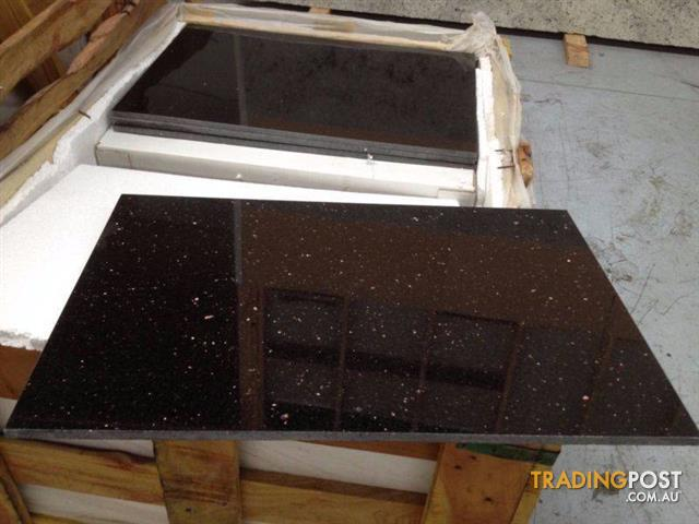 Black Galaxy Granite Tiles Polished 600x400x10mm Floor Wall For