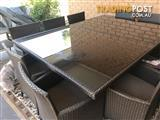 10 seat brown cane outdoor dining setting