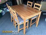 5 Piece Solid Pine Dining Suite with Cushions