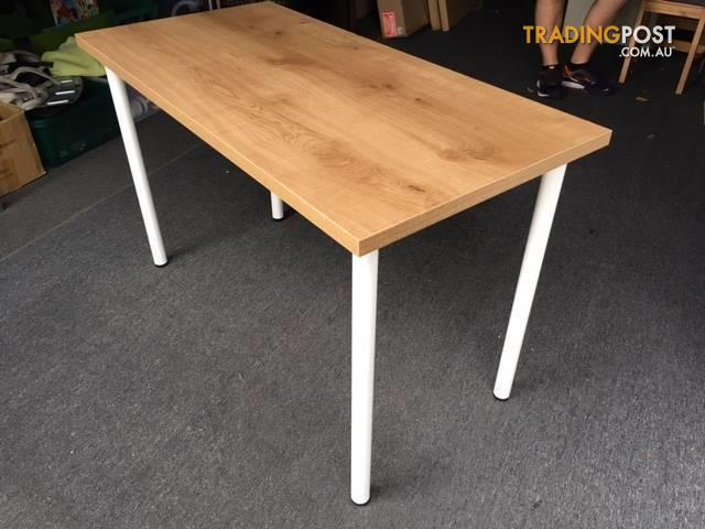 Desk laminated pine look top with white metal legs for for Better homes and gardens furniture customer service phone number